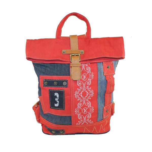 Sunsa Upcycling Rucksack Rot