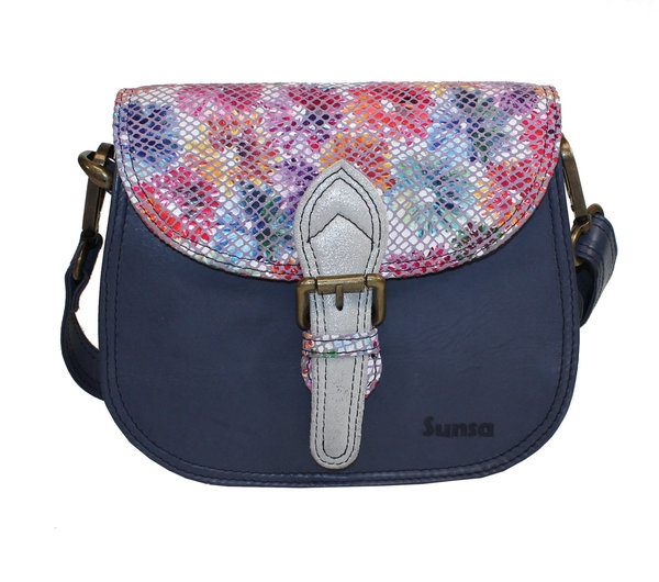 Sunsa Creations Kleine Upcycling Ledertasche Navy-Flower